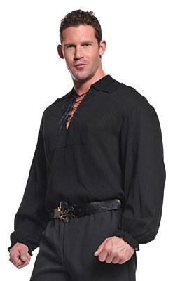 Pirate Black Lace Up Men's Shirt