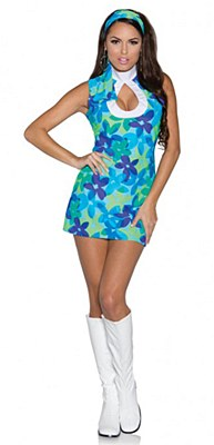 60's Flower Child Mini Keyhole Dress Adult Costume