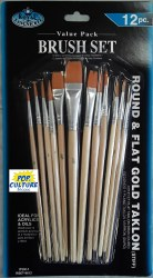 Brush Set: 12-piece Gold Taklon Stiff Value Pack