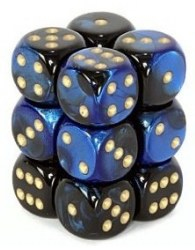 D6 12-die set: 16mm Gemini Black-Blue/gold