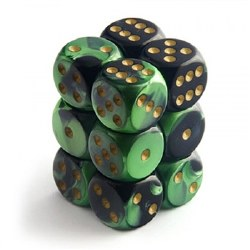 D6 12-die set: 16mm Gemini Black-Green/gold