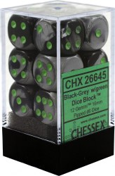 D6 12-die set: 16mm Gemini Black-Grey/green