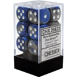 D6 12-die set: 16mm Gemini Blue-Steel/white