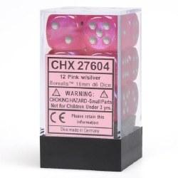 D6 12-die set: 16mm Borealis Pink/silver