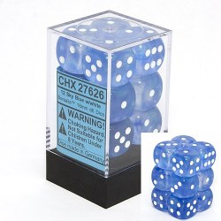 D6 12-die set: 16mm Borealis Sky Blue/white