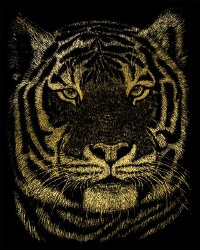 Engraving Art - Gold Foil: Bengal Tiger