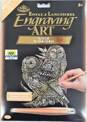 Engraving Art - Gold Foil: Owls