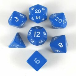 Polyhedral 7-die Jumbo set: Blue/white