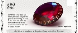 Poly Dice Hero: The Rogue 1d20 Gem - Roguish Red and Gold Tincture
