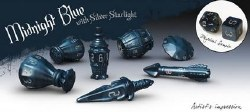 Poly Hero Dice: The Rogue 7-Dice Set - Midnight Blue and Silver Starlight