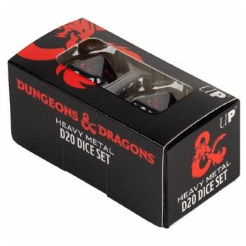 D&D: Heavy Metal Black/Red d20 Dice