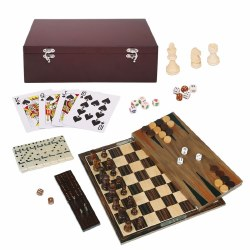 7-in-1 Dark Wood Game Set