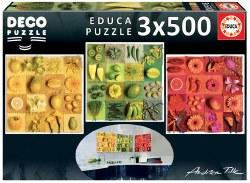 Deco Puzzle Exotic Fruits & Flowers 3 x 500pc