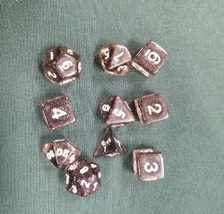 10-set Dice Tube Glitter Black white