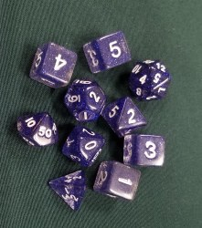 10-set Dice Glitter Purple White