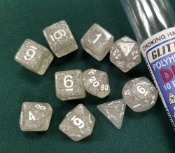 10-set Dice Glitter Clear White