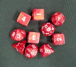 10-set Dice Tube Pearl Red Wh