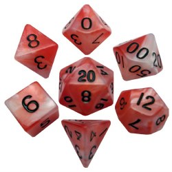 "7-set ""Combo Attack"" Dice Red/White w/ Black"