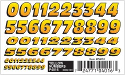 Decal - Dry Transfer: Yellow Numbers