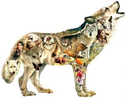 Shaped: Native American Wolf - 750pc Puzzle