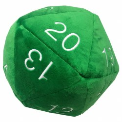 Jumbo D20 Novelty Dice Plush - Green with White Numbers