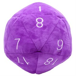 Jumbo D20 Novelty Dice Plush - Purple with White Numbers