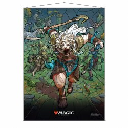 Stained Glass Planeswalker Wall Scroll Ajani for Magic the Gathering