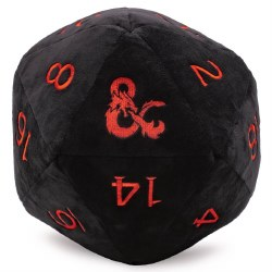 Jumbo D20 Novelty Dice Plush - Black D&D with Red Numbers