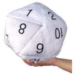 Jumbo D20 Novelty Dice Plush - White with Black Numbers