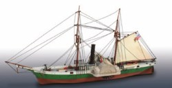 1/124 Civil War Blockade Runner US Steam Frigate Plastic Model Kit