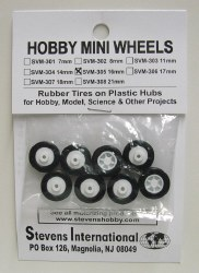 Mini Wheels - 16mm Rubber Tire with Plastic Hubs