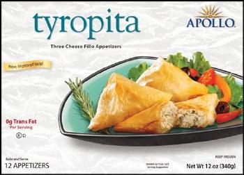 Apollo Tyropita Three Cheese Phyllo Appetizer 340g F
