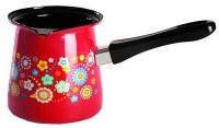 Metalac Dzezva Enamel Coffee Pot Red with Flowers 12cm Diameter