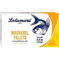 Delamaris Mackerel Fillets in Sunflower Oil 125g