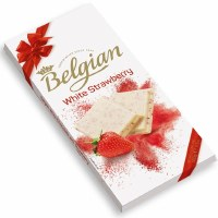 Belgian White Chocolate with Stawberry 100g