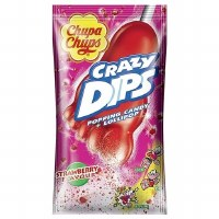 Chupa Chups Crazy Dip Stawberry Flavored Popping Candy and Lollipop 14g