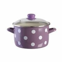 Metalac Purple Stewpot with White Dots and Glass Lid 20cm Diameter