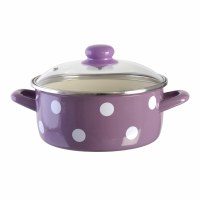 Metalac Purple Casserole Pot with White Dots and Glass Lid 20cm Diameter