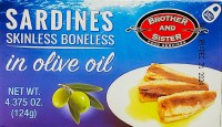 Brother and Sister Boneless and Skinless Sardines in Olive Oil 124g
