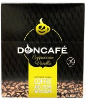Doncafe Instant Vanilla Cappuccino Coffee with Cream and Sugar 24 Pouches x 16g