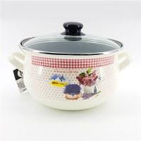 LS Home Enamel Cooking Pot with Lid 3.8L Lavender