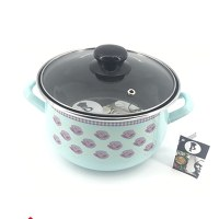 LS Home Enamel Cooking Pot with Lid 3.8L Turquoise Rose