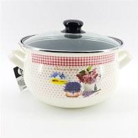 LS Home Enamel Cooking Pot with Lid 5.0L Lavender