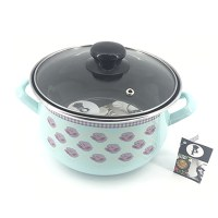 LS Home Enamel Cooking Pot with Lid 5.0L Turquoise Rose