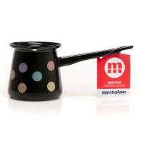 Metalac Dzezva Enamel Coffee Pot Black with Dots 4cm Diameter