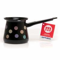 Metalac Dzezva Enamel Coffee Pot Black with Dots 7cm Diameter