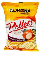 Korona Wheel Shaped Sour Cream and Onion Flavored Chips 75g