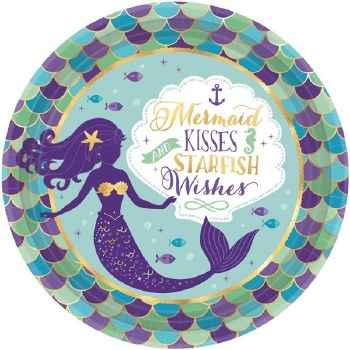 "9"" PLATES MERMAID WISHES 8ct"