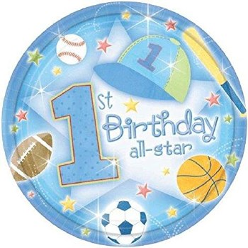 AMSCAN 16ct PLATES  1st B'DAY ALL STAR