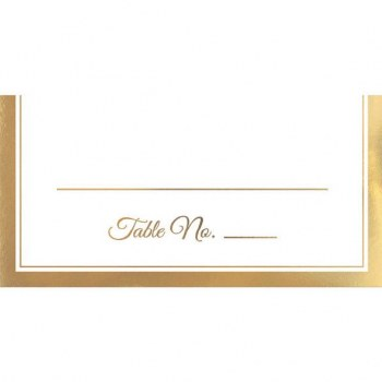 50CT PLACE CARDS WHITE W/GOLD TRIM